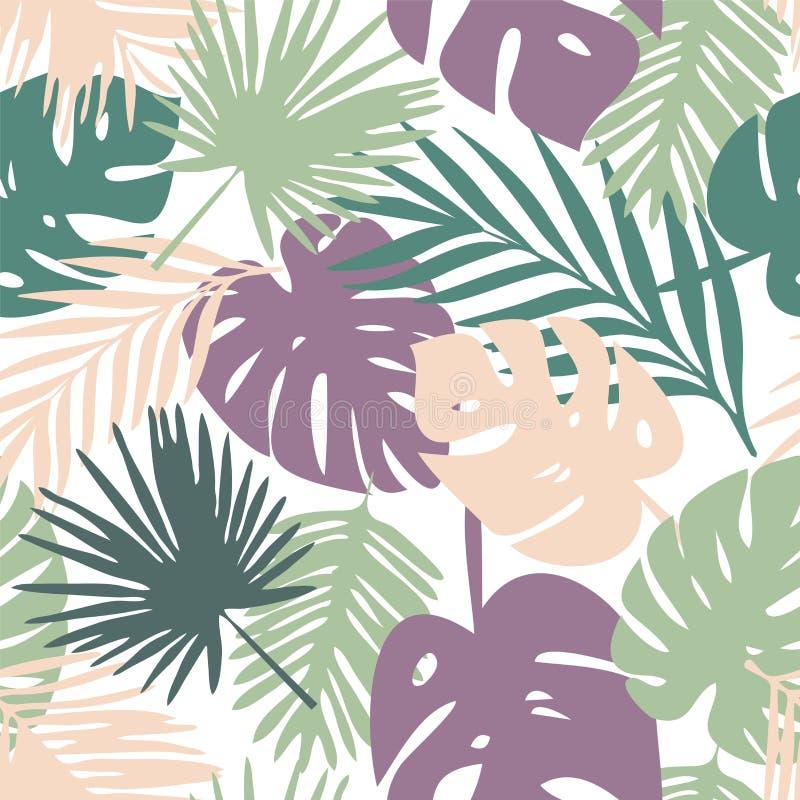 Vektormuster mit tropischen Blättern stock abbildung