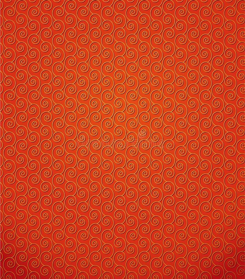 Vektormuster von goldenen gelockten Spiralen stock abbildung