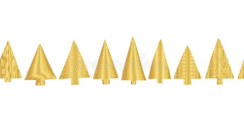 Vektormustergrenze des Goldfolien-Weihnachtsbaums nahtlose Glänzende goldene Beschaffenheitsgekritzel Weihnachtsbäume in der Reih lizenzfreie abbildung