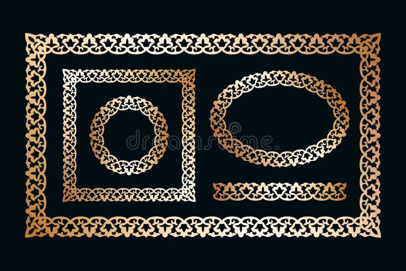 Vektormustersatz Blumenrahmengrenzen von verschiedenen Formen in Usbekistan-Art, Modelle für Entwurfsfahnen, Karten Kreis, Oval vektor abbildung