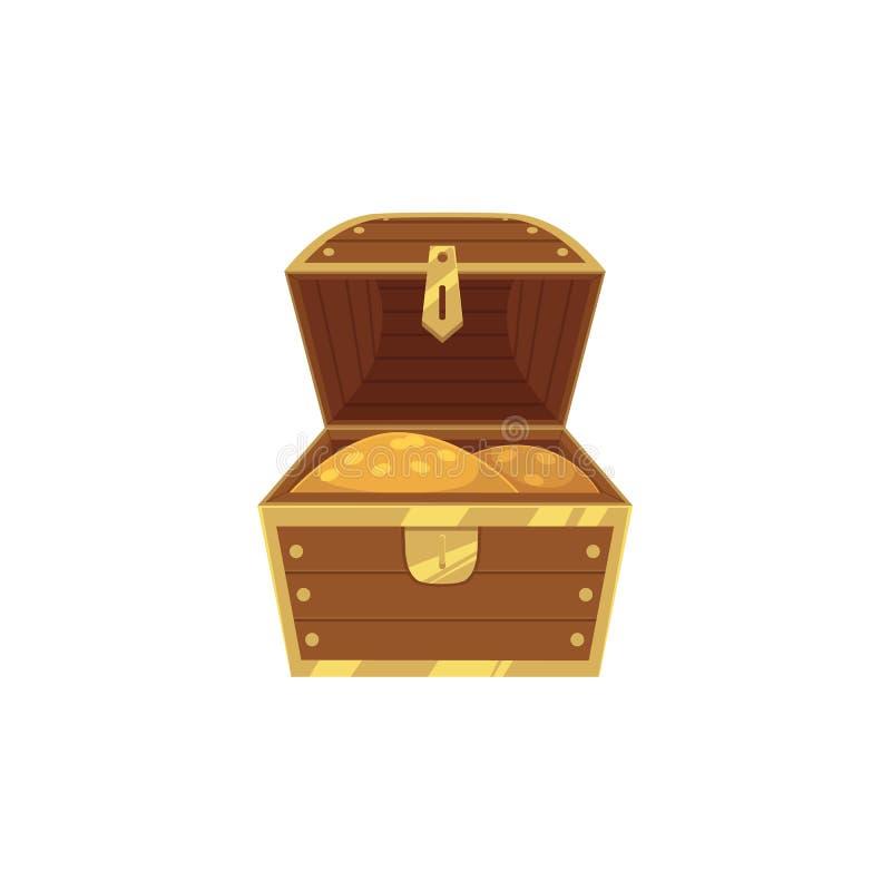 Vektorn öppnade skattbröstkorgen mycket av guld- mynt royaltyfri illustrationer