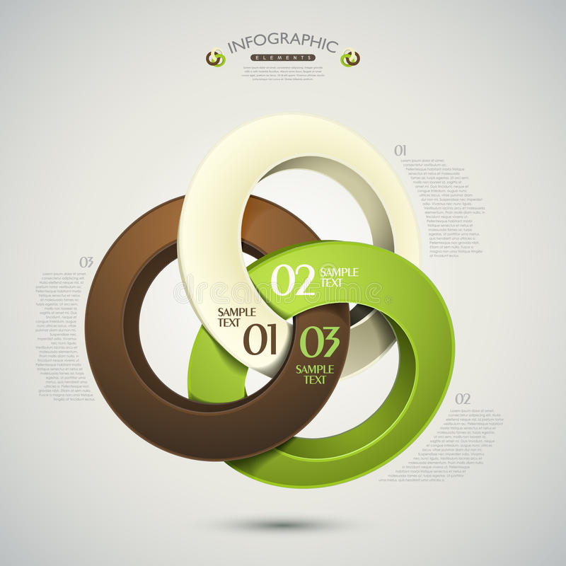Vektorn abstrakt 3d ringer infographics vektor illustrationer