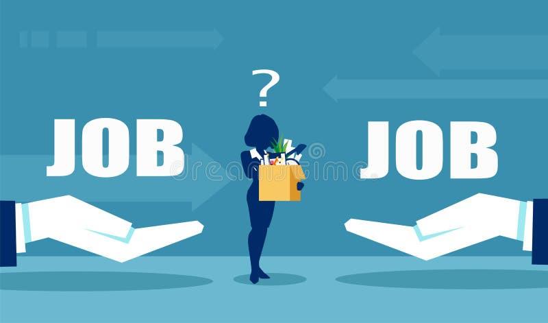 Vektorn av affärskvinna som en har, tvivlar om jobbofferings vektor illustrationer