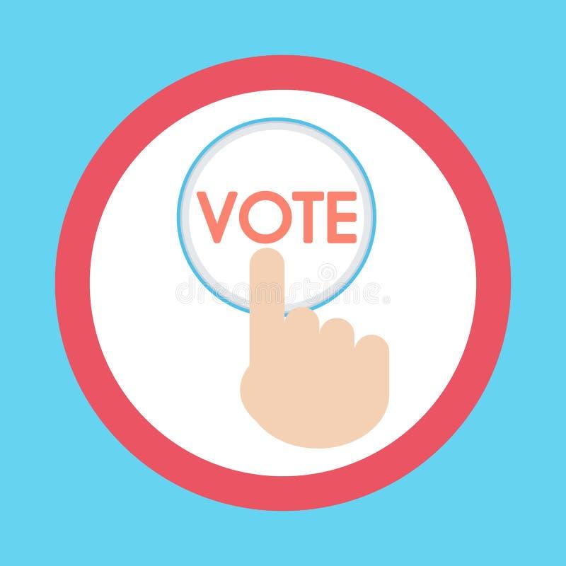 Vektorn av att trycka på för hand en knapp med texten röstar symbolen baluchistan vektor illustrationer