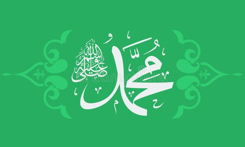 Vektorn av den arabiska guden för uttrycket för den kalligrafiSalawat bönen välsignar Muhammad stock illustrationer