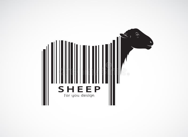 Vektorn av får på kroppen är en barcode wild djur royaltyfri illustrationer