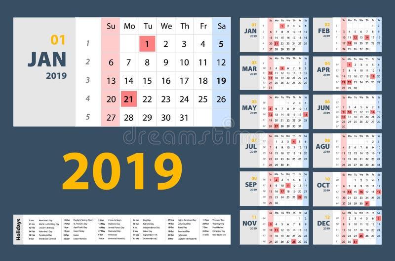Vektorn av kalendern för nytt år 2019 i för stilferie för ren minsta tabell enkel stadsplanerare för händelse, vecka startar sönd stock illustrationer