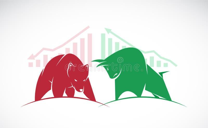 Vektorn av tjur- och björnsymboler av aktiemarknaden tenderar royaltyfri illustrationer