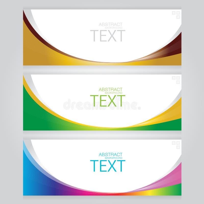 Vektorn av tre baner gör sammandrag titelrader med färgrikt royaltyfri illustrationer
