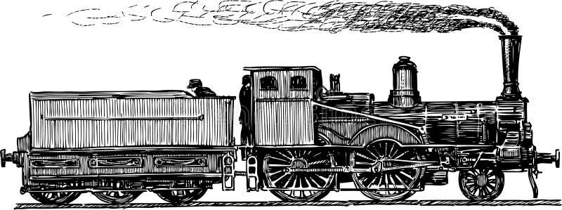 Forntida lokomotiv royaltyfri illustrationer