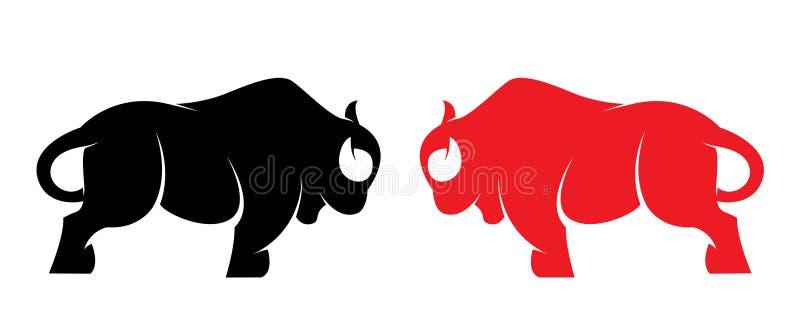 Vektorn avbildar av en bison royaltyfri illustrationer