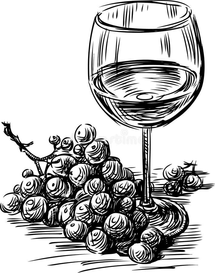 Druvor och wine royaltyfri illustrationer