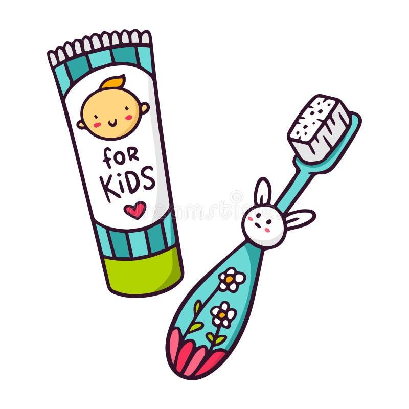Vektorn behandla som ett barn tandkräm och tandborsten för ungar som isoleras på vit stock illustrationer