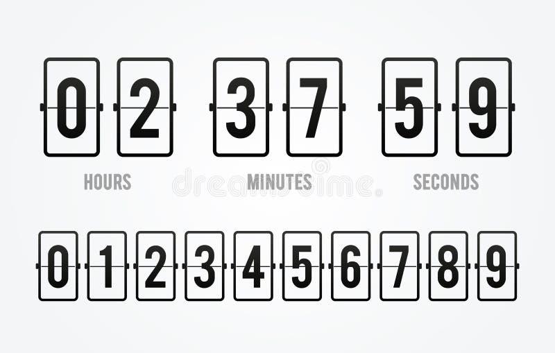 Vektorn bläddrar tidmätaren för räknaren för brädenedräkningklockan Funktionskort av timmen, minuter och sekunder för webbsidan,  vektor illustrationer