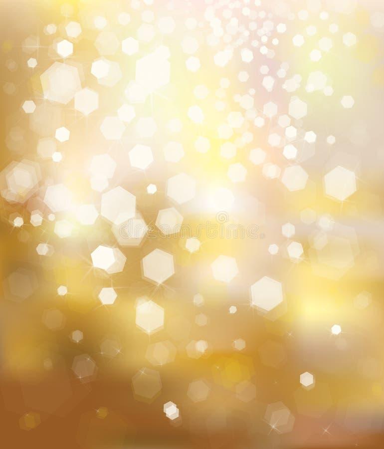 Vektorn blänker guld- bakgrund. vektor illustrationer