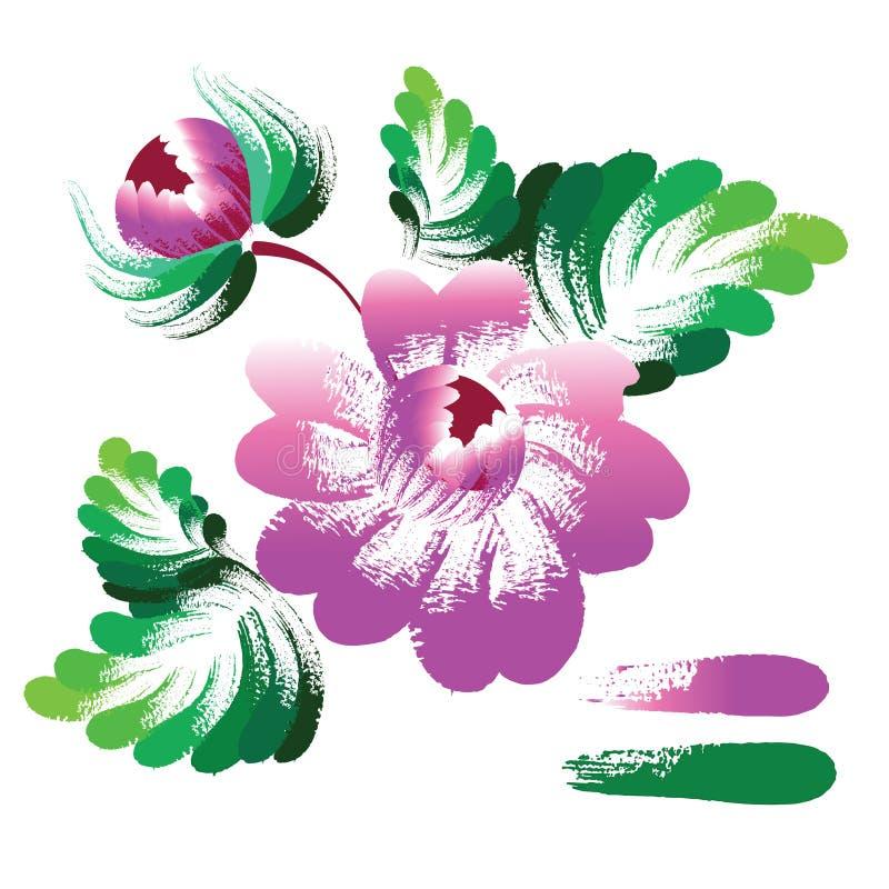 Vektorn blommar, etnisk garnering, efterföljd av borsteslaglängder royaltyfri illustrationer