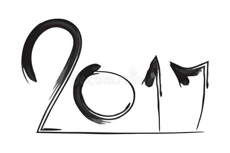 Vektorn borstar kalligrafi 2017 royaltyfri illustrationer
