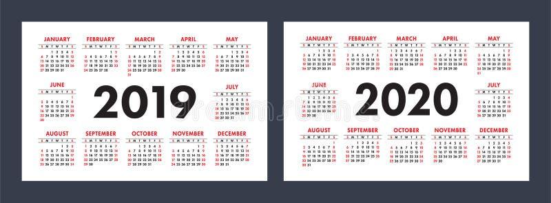 Vektorn calendars 2019 och 2020 år Grundläggande minimalistic design royaltyfri illustrationer