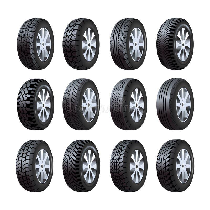 Vektorn 3d för bilgummihjul isolerade symboler med däckmönstermodellen stock illustrationer