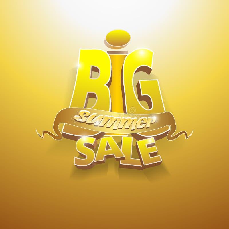 vektorn 3d uttrycker stor sommarförsäljning vektor illustrationer