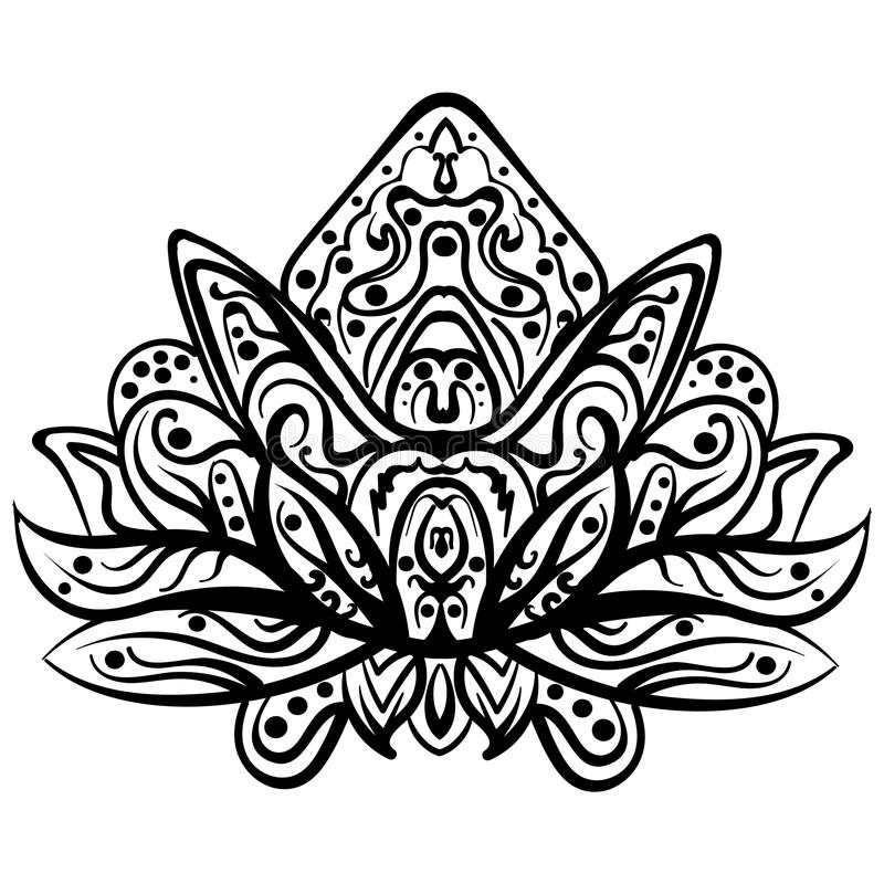 Vektorn dekorativa Lotus, person som tillhör en etnisk minoritet zentangled tatueringen stock illustrationer