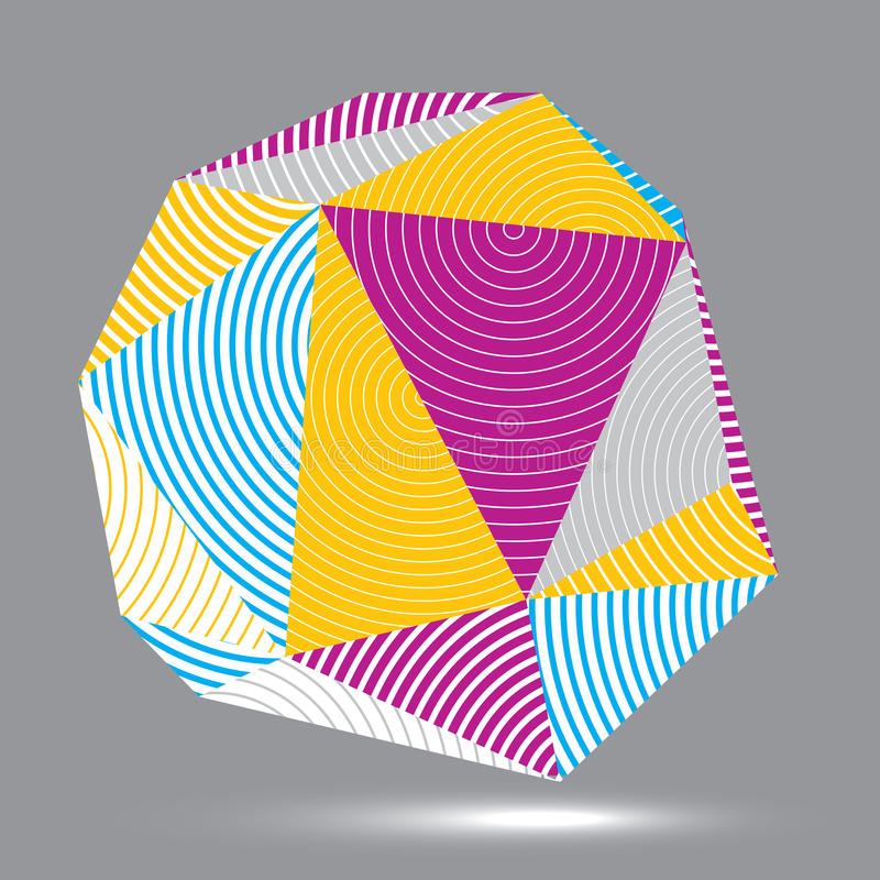 Vektorn digital 3d gjorde randig abstraktionen, geometrisk polygonal eleme stock illustrationer
