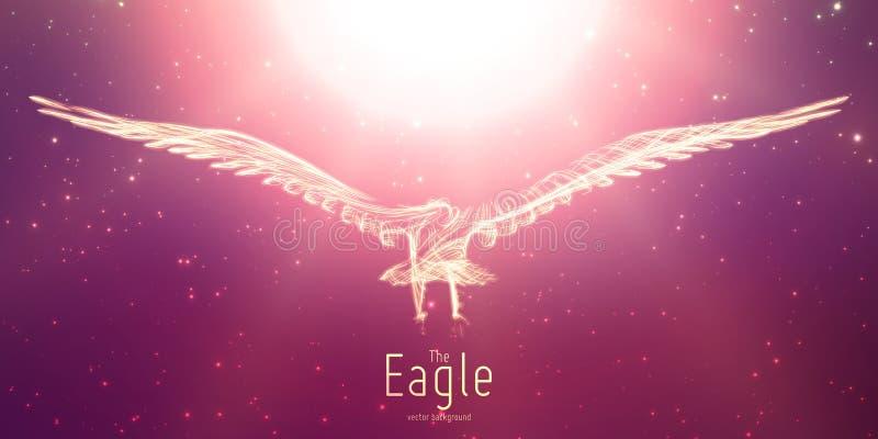 Vektorn Eagle till solen från abstrakt virvel fodrar i flykten Eagle i rörelse, brandlinjer Begrepp av frihet, makt royaltyfri illustrationer