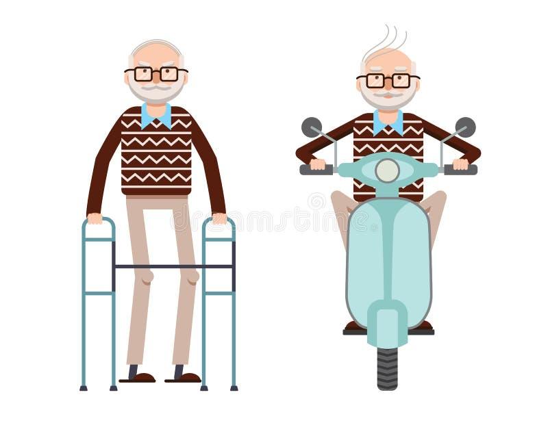 Vektorn färgade illustrationen av en pensionerad man med en rotting och en pensionerad man som kör en sparkcykel stock illustrationer