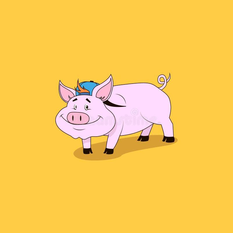 Vektorn färgade tecknad filmillustrationen av ett le rosa svin i en baseballmössa vektor illustrationer