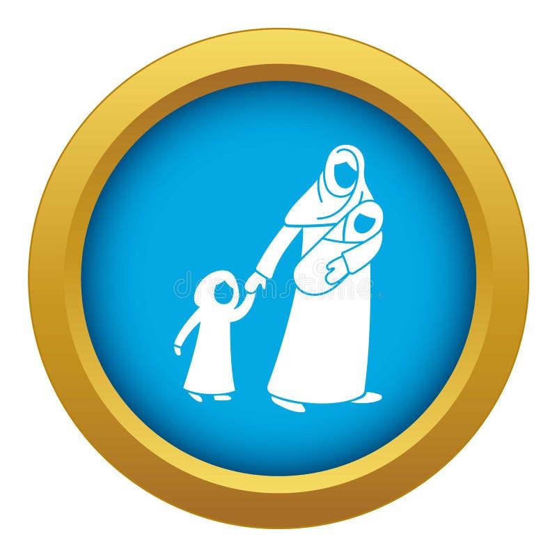 Vektorn för blått för symbolen för flyktingmoderbarn isolerade vektor illustrationer