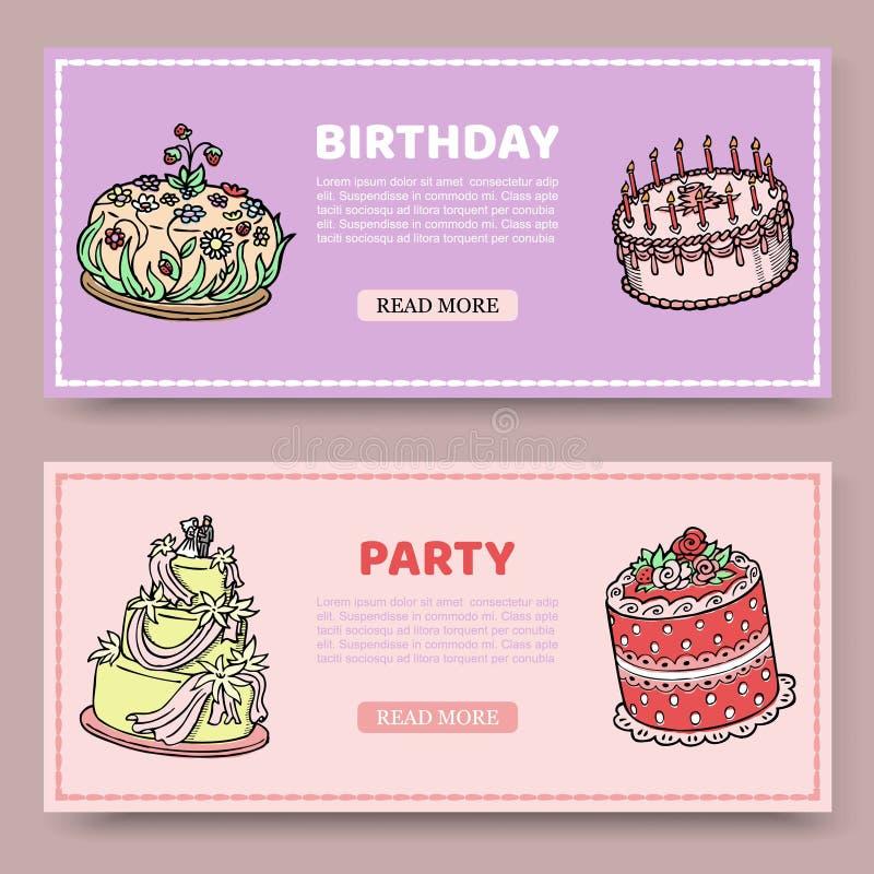 Vektorn för födelsedagpartiet eller bröllopsdagställde in av baner med födelsedagkakor på lilja och steg bakgrund Fruktkaka vektor illustrationer