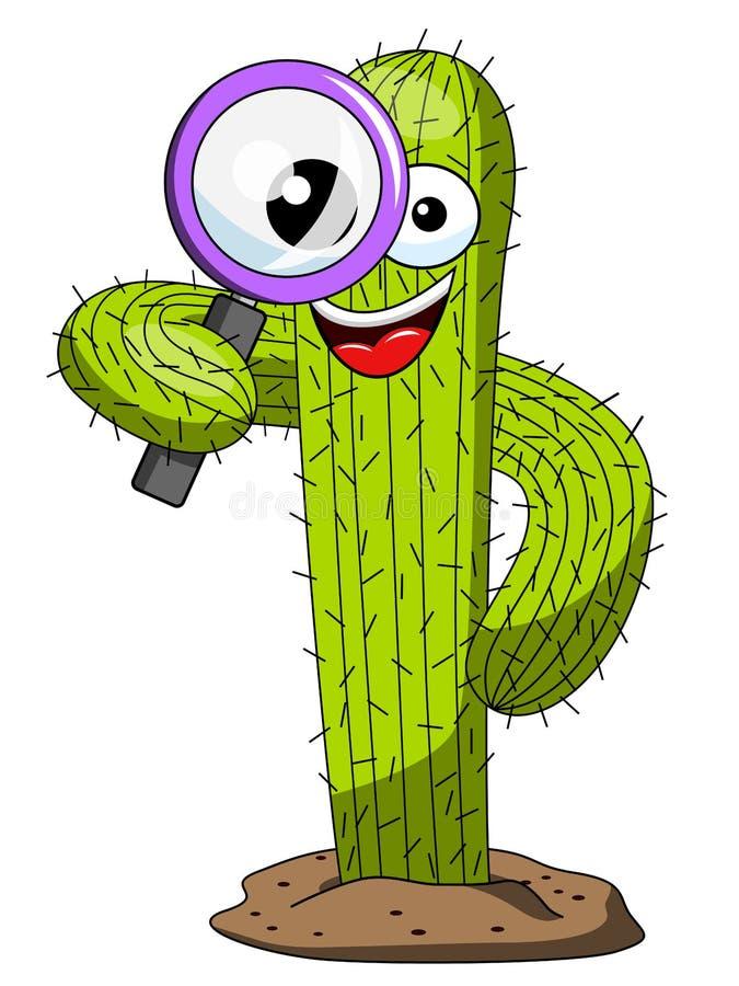 Vektorn för förstoringsglaset för tecknade filmen för kaktusteckenmaskot isolerade stock illustrationer