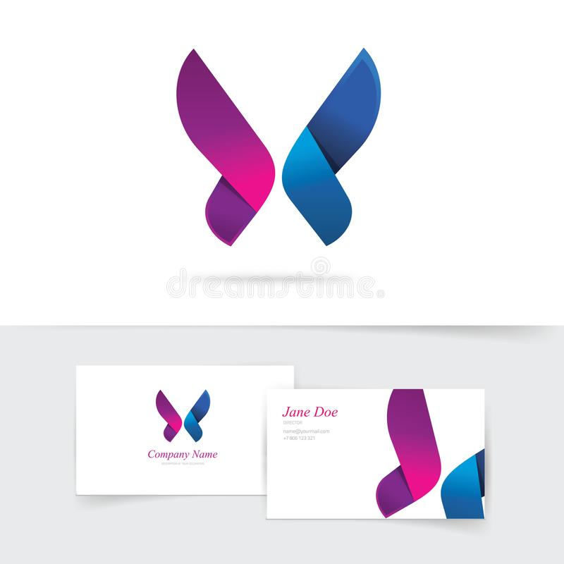 Vektorn för fjärilslogomallen med purpurfärgade vingar planlägger, den abstrakta lutningfjärilen i blåa och violetta färger stock illustrationer