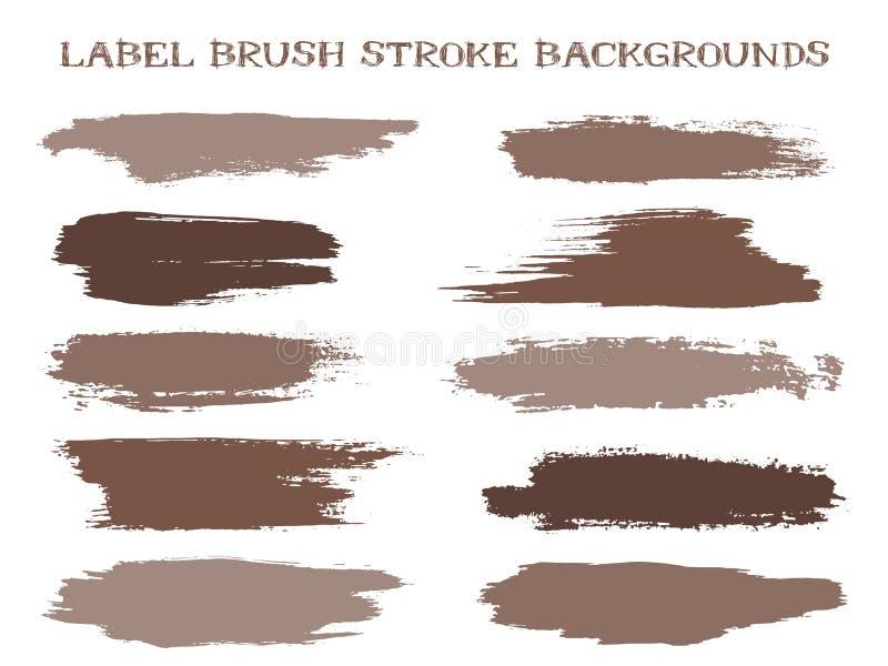 Vektorn för fläckar för bakgrunder, för målarfärg eller för färgpulver för slaglängd för Grungeetikettborste för etiketter och st stock illustrationer