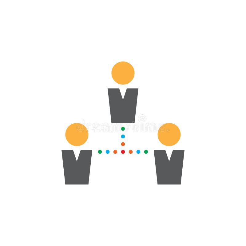 Vektorn för folkanslutningssymbolen, team den fasta logoen, pictogram stock illustrationer