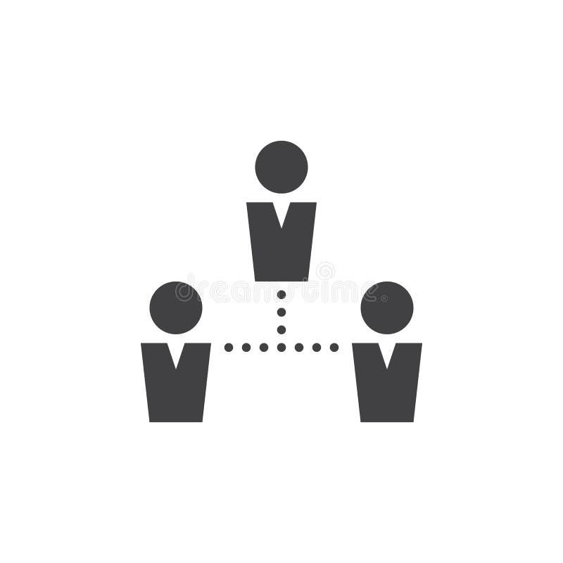 Vektorn för folkanslutningssymbolen, team den fasta logoen, pictogram royaltyfri illustrationer