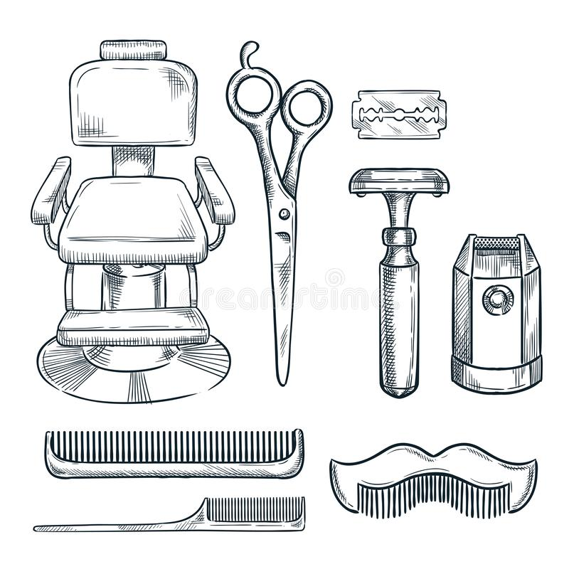 Vektorn för frisersalongtappninghjälpmedel skissar illustrationen Handen drog symboler och designbeståndsdelar för mäns barberare royaltyfri illustrationer