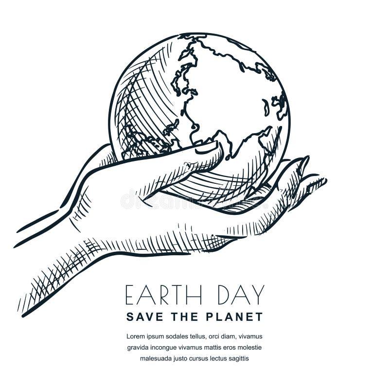 Vektorn för jorddagen skissar illustrationen jordklotet hands holdingen Baner- eller affischdesignmall för ekologiteman royaltyfri illustrationer