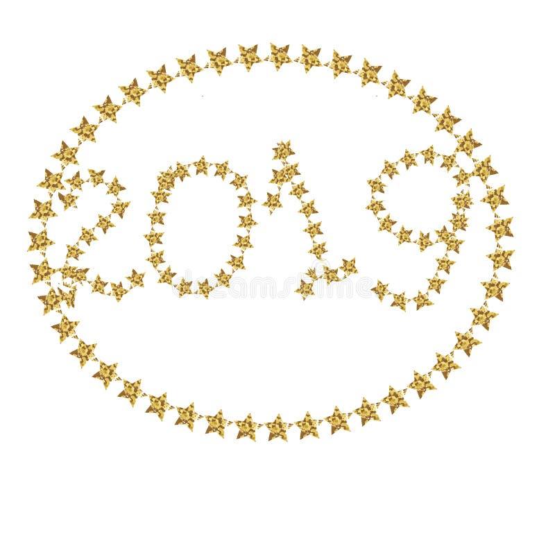 Vektorn för jul för guld- flygstjärnakonfettier som mousserar den magiska kosmiska är högvärdig stardustbakgrundsmodellen Dekor f stock illustrationer