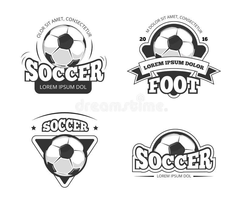 Vektorn för klubban för fotbollligan förser med märke, etiketter stock illustrationer