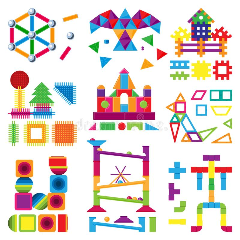 Vektorn för leksaken för ungebyggnadskvarter behandla som ett barn färgrika tegelstenar för att bygga eller konstruera gullig fär vektor illustrationer