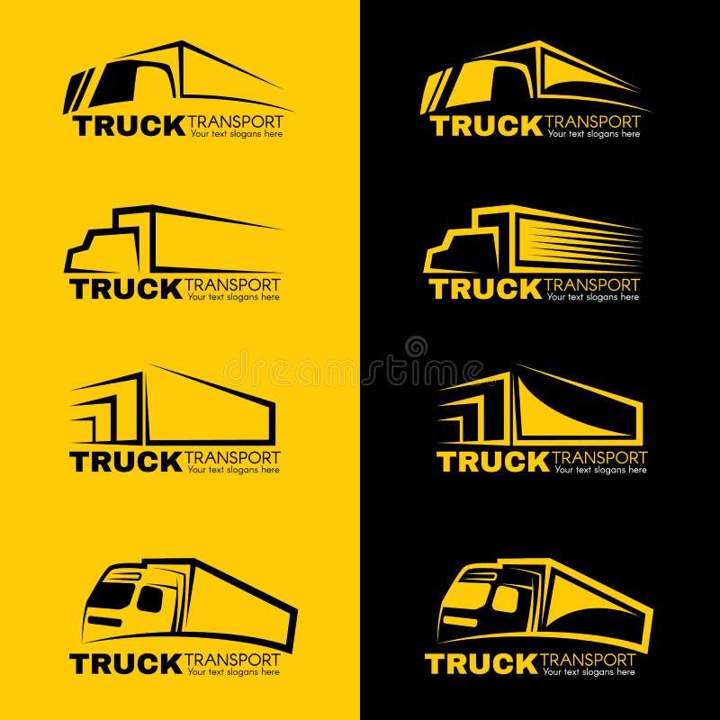 Vektorn för logoen för svart- och gulinglastbiltransport planlägger stock illustrationer