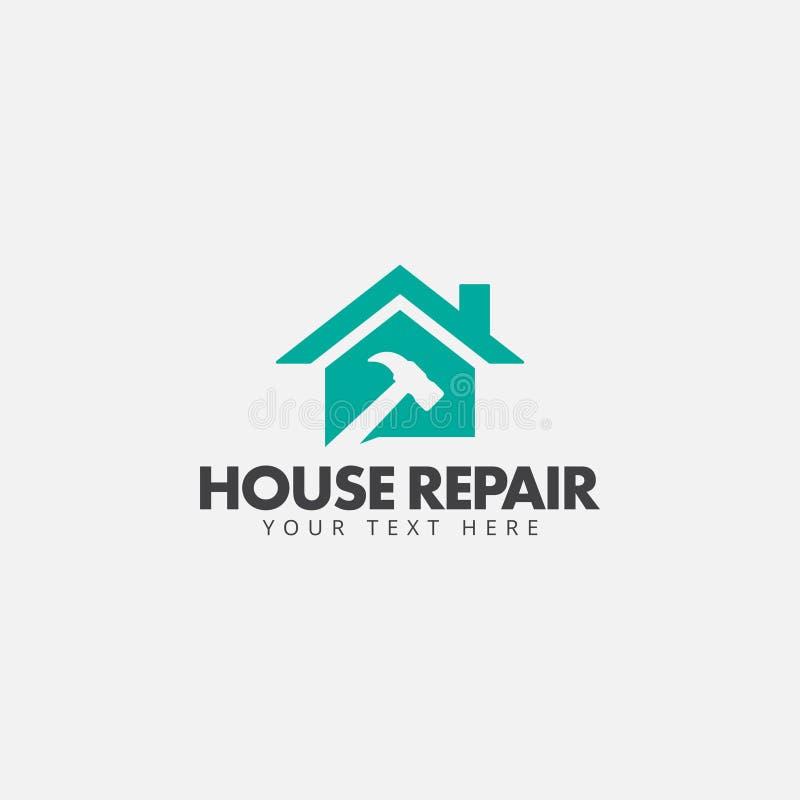Vektorn för mallen för designen för husreparationslogoen isolerade stock illustrationer