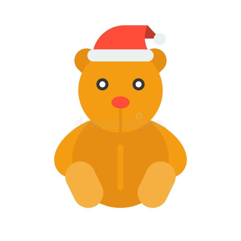 Vektorn för nallebjörnen, jul utformar den plana stilsymbolen stock illustrationer