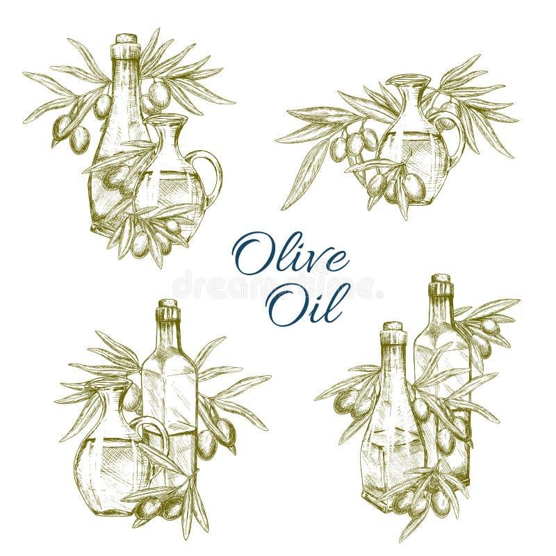 Vektorn för olivoljaflaskor skissar symbolsuppsättningen vektor illustrationer