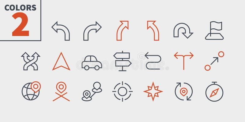 Vektorn för PIXELet för navigering UI Brunn-tillverkade fodrar den Perfect thin symboler 48x48 som är klara för rastret 24x24 för stock illustrationer