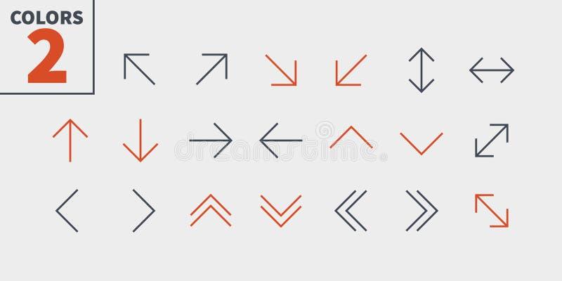 Vektorn för PIXELet för pilar UI Brunn-tillverkade fodrar den Perfect thin symboler 48x48 som är klara för rastret 24x24 för reng vektor illustrationer