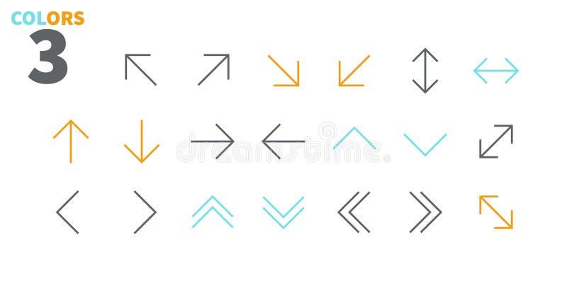 Vektorn för PIXELet för pilar UI Brunn-tillverkade fodrar den Perfect thin symboler 48x48 som är klara för rastret 24x24 för reng royaltyfri illustrationer