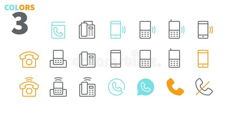 Vektorn för PIXELet för telefoner UI Brunn-tillverkade fodrar den Perfect thin symboler 48x48 som är klara för rastret 24x24 för  vektor illustrationer