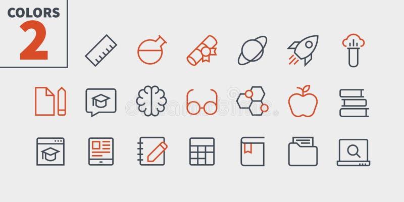 Vektorn för PIXELet för utbildning UI Brunn-tillverkade fodrar den Perfect thin symboler 48x48 som är klara för rastret 24x24 för royaltyfri illustrationer